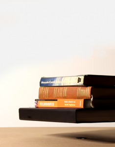 Levitation base 4K inside of books and table