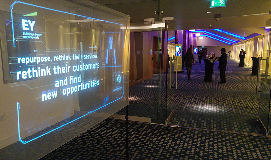 holographic transparent screen in EY conference
