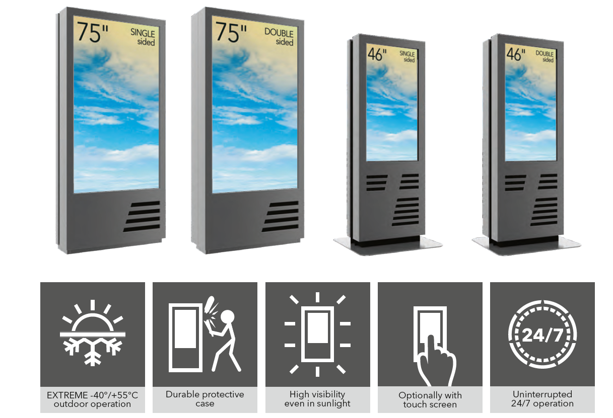 outdoor totem free standing lcd extreme weather